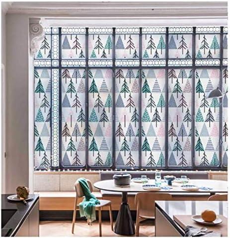 ガラスフィルム窓フィルム幾何学的スプライスアートウィンドウフィルムツリーのり接着剤静的くがみ防水ガラスステッカー用リビングルームバスルーム