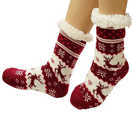 Calze Antiscivolo Invernali Da Donna £ ¬super Morbide E Accoglienti In Felpa Calda Fodera In Pile Pantofole In Maglia Bordeaux