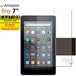 TECHGEAR Screen Protector for New Amazon Fire 7″ & Fire Kids Edition 7″ (9th Gen / 2019 Release) – Clear Lcd Screen Protectors for Fire 7 2019 – With Cleaning Cloth + Application Card