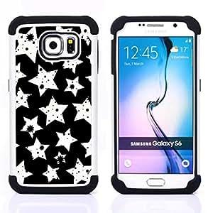 BullDog Case - FOR/Samsung Galaxy S6 G9200 / - / White Stars Pattern /- H??brido Heavy Duty caja del tel??fono protector din??mico - silicona suave