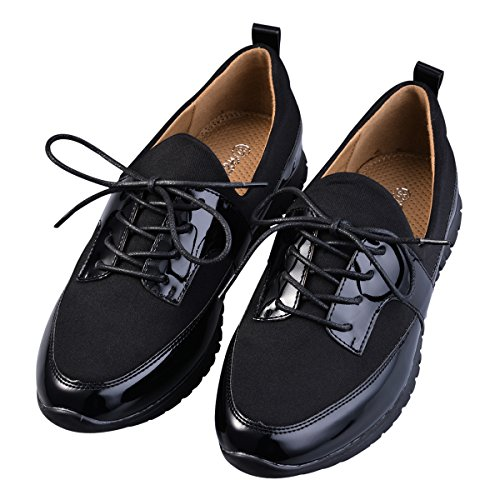Hengfeng Colorido Plano Cordones Zapatos Para Mujeres 6069-82 Negro