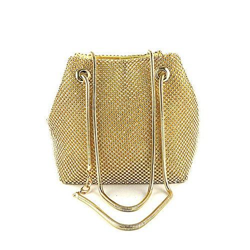 Women Girls Crystal Rhinestone Mini Bucket Evening Bags Handbags Wedding Clutch Shoulder Purse Party (gold) by JIANBAO