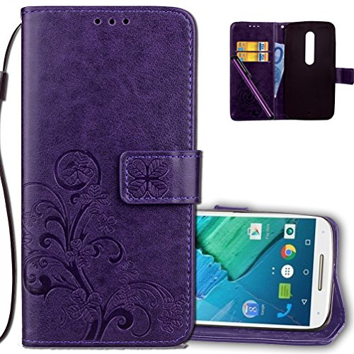 Moto X Pure Edition Wallet Case Leather COTDINFORCA Premium PU Embossed Design Magnetic Closure Protective Cover with Card Slots for Motorola Moto X Style/Pure Edition. Luck Clover Purple