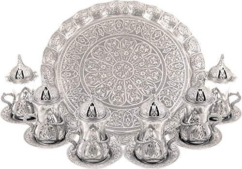 Turkish Moroccan Indian Tea Set for Six - Glasses with Brass Holders Lids Saucers Tray, Tea Cups, Tea Servers- ()