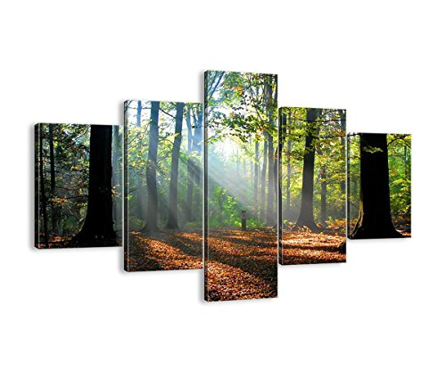 Fall Wooden Dock Bridge 5 Panel Wall Art Beautiful Tree Canvas Print Autumn Pictures for Living Room Home Decor Modern Painting Artwork Giclee Print Gallery Wrap Framed Stretched(60''Wx40''H) - Fall Foliage Decor Wrap