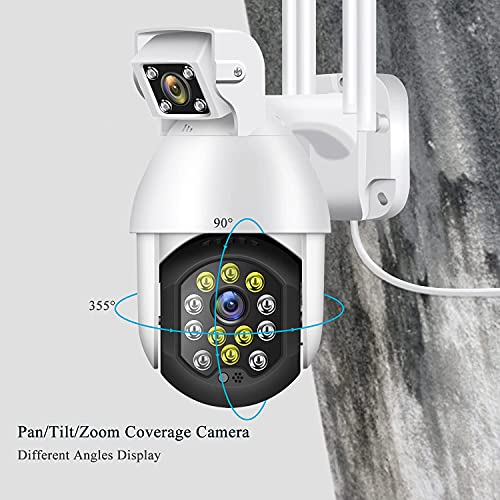 Security Camera Outdoor, Orosaur 1080P Wireless 2.4G WiFi for Home Surveillance Cameras, 360° View, PTZ, Color Night Vision, IP66 Weatherproof, Motion Detection, 2-Way Audio, Cloud Storage Camera