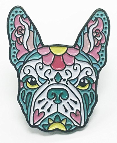 French Bulldog Pink Teal Sugar Skull Tattoo Breed Dog Lover Enamel Lapel (Bulldogs Enamel)