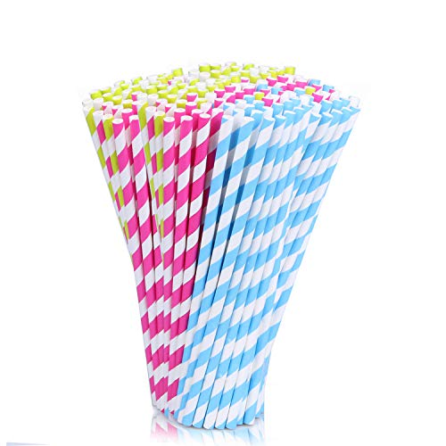 200Pack Biodegradable Paper Straws, Parentswell Multi-Color Drinking Straw, Supplies for Christmas,Halloween Party -