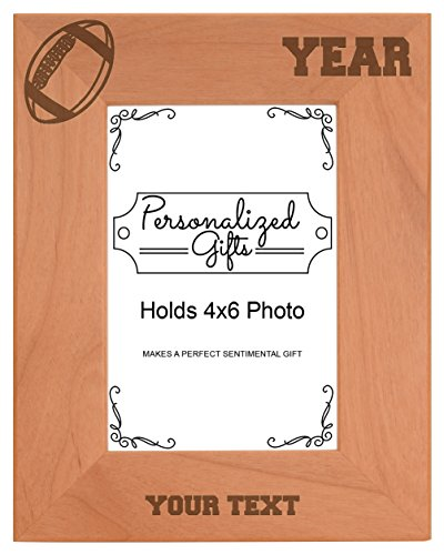 Custom Football Coach Gifts Add Text Year Personalized Natural Wood Engraved 4x6 Portrait Picture Frame