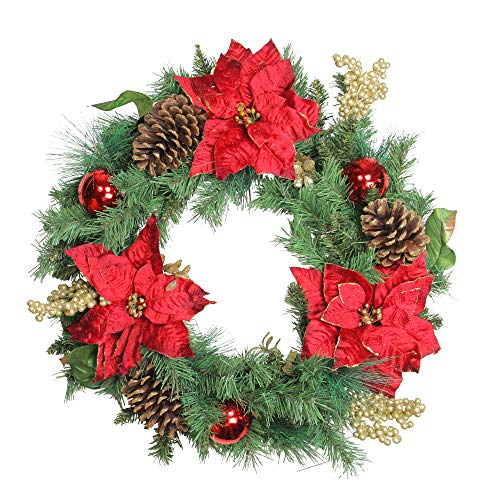 Northlight Unlit Artificial Mixed Pine with Red Poinsettias Gold Pine Cones and Berries Christmas Wreath, 24