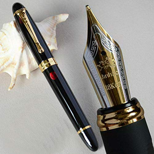 New Jinhao X450 Red and Gold clip Fountain Pen 0.7mm Broad Nib 18KGP Golden Trim