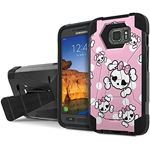 AT&T [Galaxy S7 Active] Armor Case [NakedShield] [Black/Black] Tough ShockProof [Kickstand] Phone Case - [White Pink Cutie Skull] for Samsung Galaxy [S7 Sales