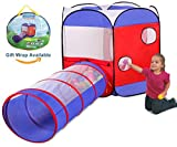 UTEX Kids Play Tent Ball Pit with Tunnel for Boys, Girls, Babies and Toddlers for Indoor & Outdoor Use,Children Playhouse with Zippered Storage Bag