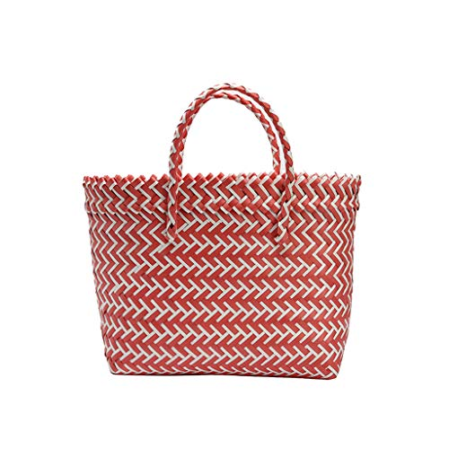 LUXISDE Women Weave Beach Bags Shopping Basket Striped Hand Knitted Handbag Totes ()