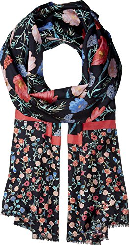 Kate Spade New York Women's Blossom Silk Oblong Black One Size by Kate Spade New York