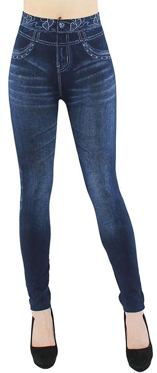 Thermo Leggings Damen Jeggings gefüttert Jeansoptik - WL046 WL046-049