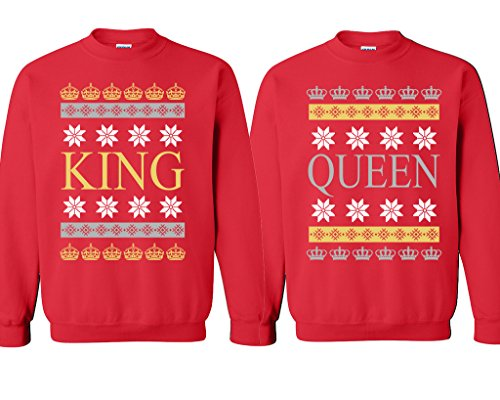 CHRISTMAS King Queen Couple Crewneck Sweater Santa Claus Xmas Love Couple Matching
