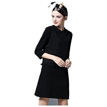 Moda primavera y el otoño de Nueva vestido de una sola pieza , black , s