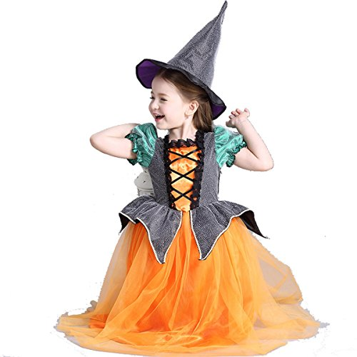 Cute Little Kid Halloween Costumes (Cute Halloween Pumpkin Witch Dress Costume Set with FREE Witch Hat for Girls age 3-12)