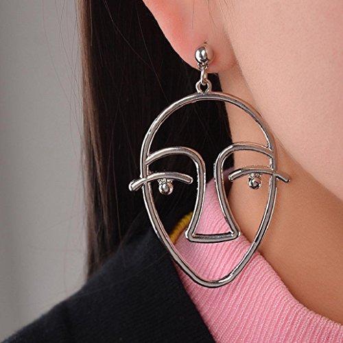 Hot Sale Earrings! AMA(TM) Women Charm Face Earrings Eardrop Hollow Gold Chain Jewelry Gift (Silver)