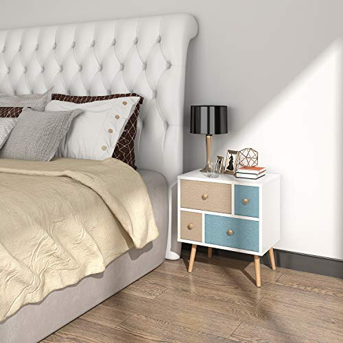 Lifewit Nightstand with 4 Fabric Drawers, Bedroom Side Table Bedside Table, Easy to Assemble, Sturdy and Durable, Small and Cute, White, 18.9 x 11.8 x 21.7 in