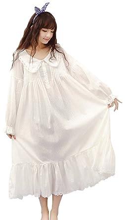 angelcity レディース パジャマ ワンピース 部屋着 長袖 かわいい 綿 ルームウェア 春 夏 ホワイト