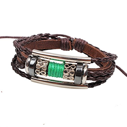 [Manual pu Rope Woven Leather Bracelets with Alloy Accessories Adjustable Cuff Charm Bangle] (Diy Cute Costumes For Teenagers)