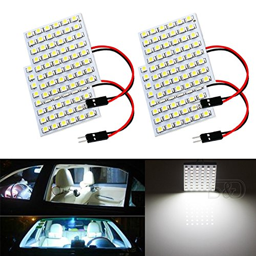S&D 4-Pack Car Interior Bulbs 48SMD LED Super Bright Dome Lights Reading Door Light Panel Lights With T10 BA9S C5W Adapter 3528 Chips (Globe Park Style Lamp)