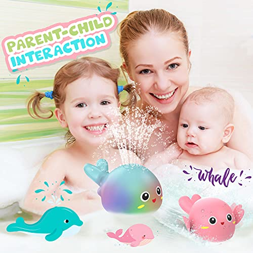 Baby Bath Toys Bathtub Toy for Toddlers 2 3 4 5 Years Old Boys and Girls, Whale Bath Toys with Light Up/ Spray Water Gift Toys for Kids Wind-up Bath Toys