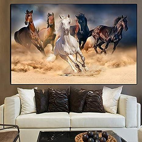 Pintura al óleo Lienzo de caballo blanco y negro moderno, carteles e impresiones de animales, cuadros de pared de caballos corriendo para la decoración del hogar de la sala de estar 60x90cm