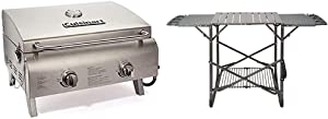 Cuisinart CGG-306 Chef's Style Propane Tabletop Grill, Two-Burner, Stainless Steel & CFGS-222 Take Along Grill Stand