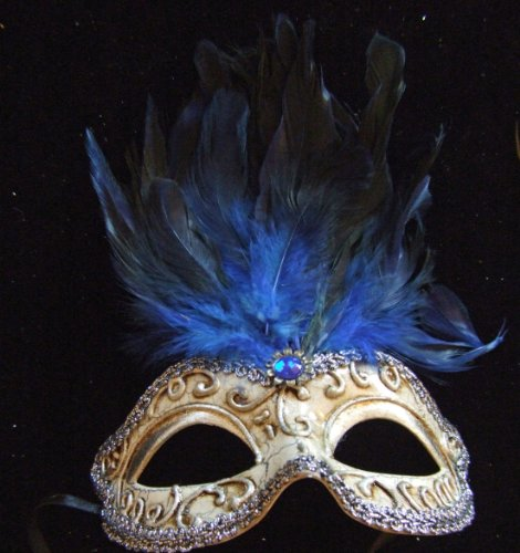 Greco Mask Blue Jewel Feathers Halloween Mardi Gras Costume Masquerade New Orleans Prom -