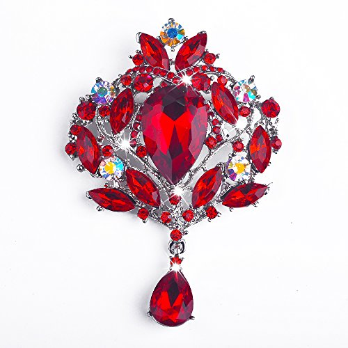 Yilanair Wedding Bridal Big Crystal Rhinestone Bouquet Brooch Pin for Women-Red