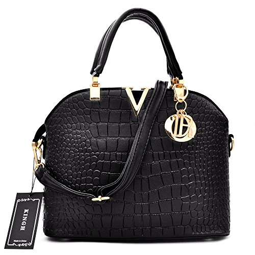 Crocodile Black Pattern (Women Handbag,Women Bag, KINGH Vintage PU Leather Bag Crocodile Pattern Shell Bag 149 Black)