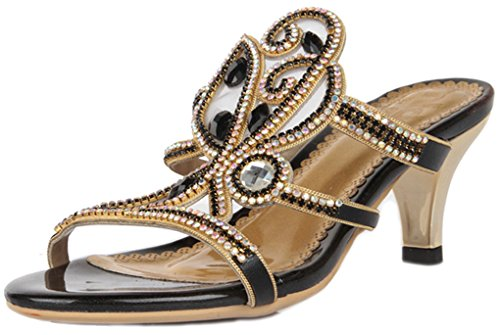 Lizform New Fashion Strappy Sandalia De Tacón Crystal Stud Mesh Sandalia Floral Kitten Heel Black