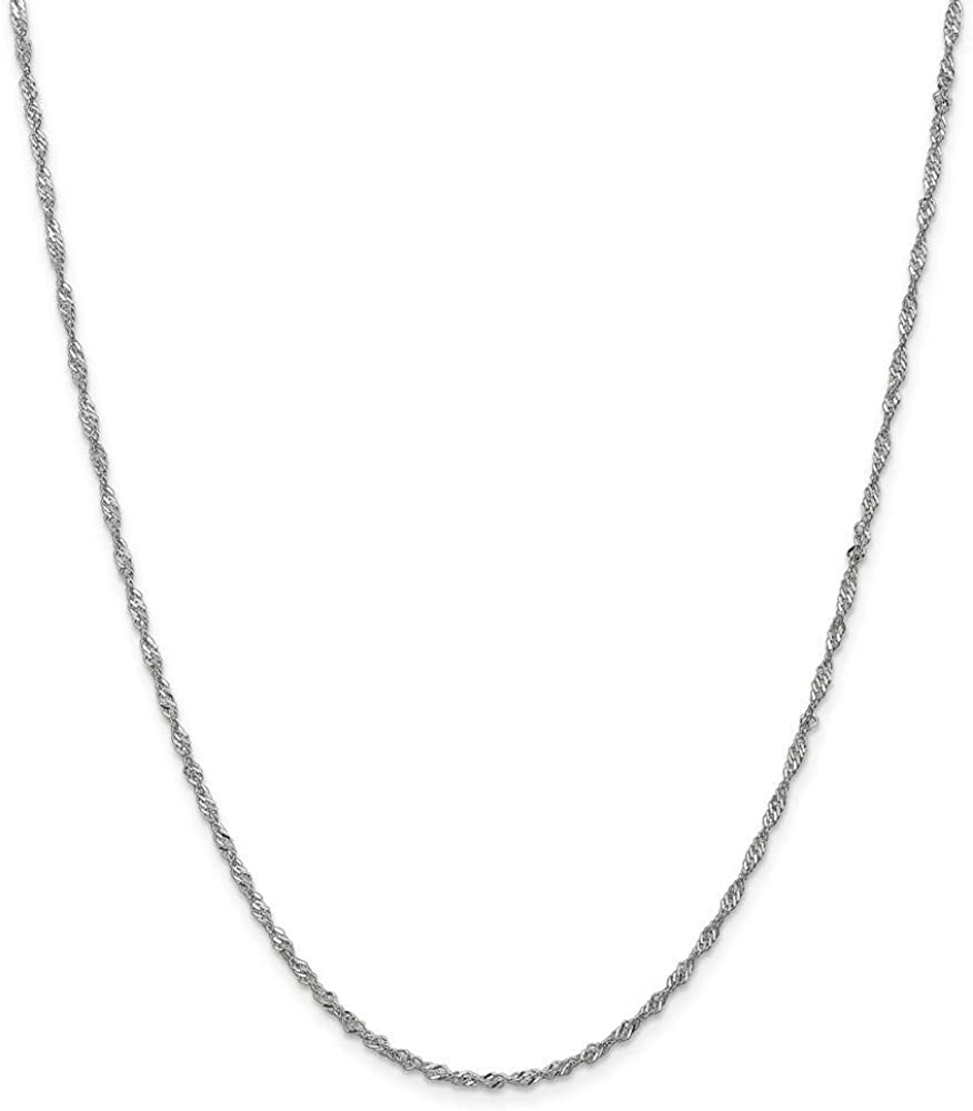 14k Solid D-Cut Cable Chain Anklet in White Gold Choice of Lengths 10 9 and 0.9mm 1.3mm 1.65mm