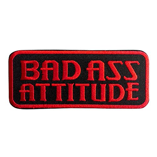Bad Ass Attitude Iron on patches black 9,8x4cm Application badges