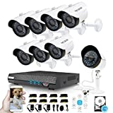 720P Video Surveillance System 8CH 1TB Security DVR with 1.5mp Day & Night Security Cameras Remote View CCTV Camera System with Motion Alert Home Video Camera System
