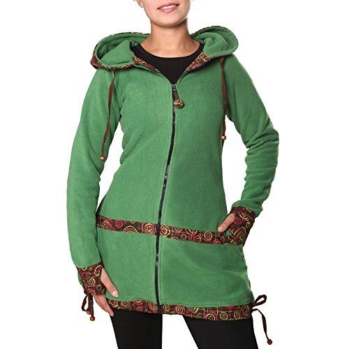 80dc843541de3f KUNST UND MAGIE kurzer Damenmantel aus Fleece mit Kapuze: Amazon.de:  Bekleidung