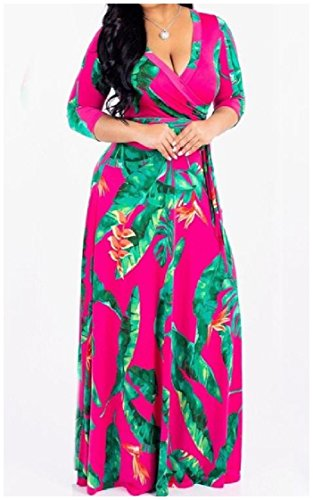 Long Neck Empire As1 Women Coolred Waist Swing V Print Big Sexy Sleeve Floral Dress X1nFqH