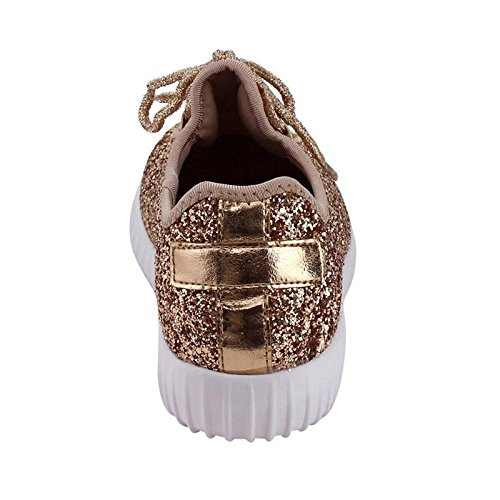 Forever Link Women's REMY-18 Glitter Fashion Sneakers Rose Gold 5.5 B(M) US by Forever Link (Image #6)