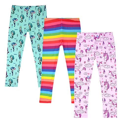 HDE Girl's Leggings 3 Pack with Print Designs Full Ankle Length Kids Pants 3-11Y (Fairytale Creatures, X-Small 4/5) ()