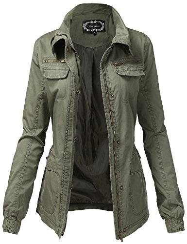 Stylish Warm Hooded Zipper Utility Jackets, 113 - Olive, Small