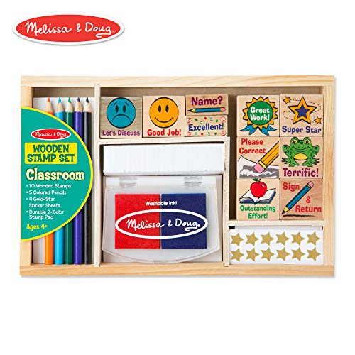 Melissa & Doug Wooden Classroom Stamp Set With 10 Stamps, 5 Colored Pencils, 4 Sticker Sheets, and 2-Colored Stamp Pad (Teacher Rubber)