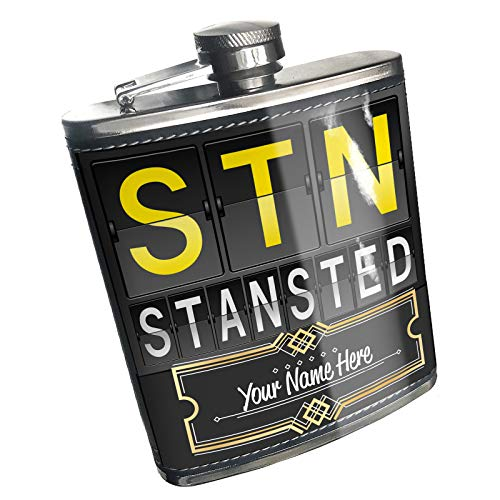 Neonblond Flask STN Airport Code for Stansted Custom Name Stainless Steel
