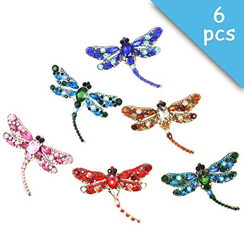 Apol Set of 6 Dragonfly Themed Fashion Enamel Crystal Rhinestones Brooch Pin for Women Jewelry Clothes Dress Scarf Decoration ()