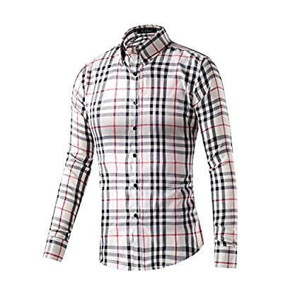 XI PENG Men's Casual Plaid Checkered Gingham Long Sleeve Button Down Dress Shirts