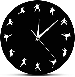 The Geeky Days Taekwondo Karate Arts Modern Wall Decor Fighting Sports Kung Fu Exclusive Wall Clock Watch