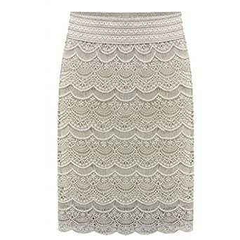 AOMEI Women's Lace High Waist Pencil Skirts Beige Size XS