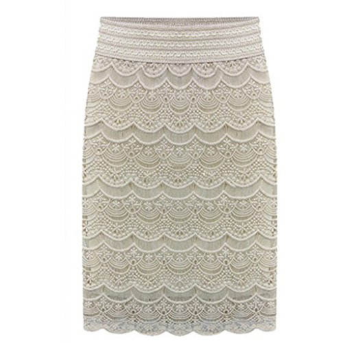 AOMEI Women's Lace High Waist Pencil Skirts Beige Size 2XL ()